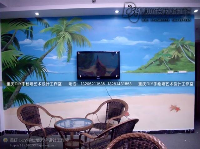 【重庆手绘墙·diy墙绘工作室】江北·海边沙滩椰树风景地图墙画(多图