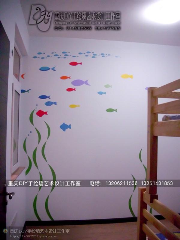 【重庆手绘墙·diy墙绘工作室】长城小区·电视墙 儿童房卡通 开关墙