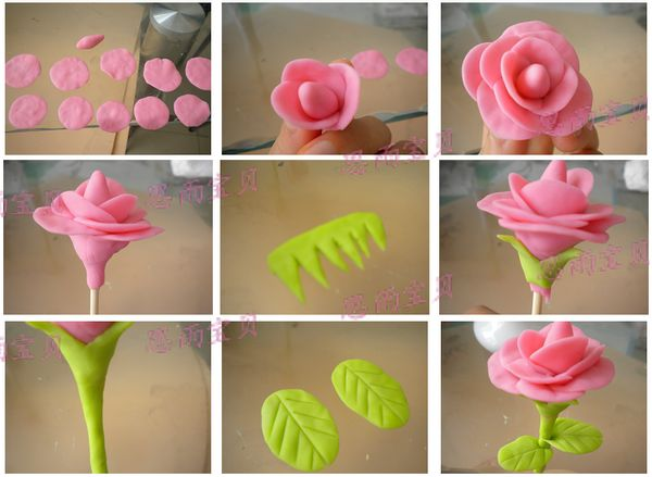 [思雨创意] 面塑玫瑰花
