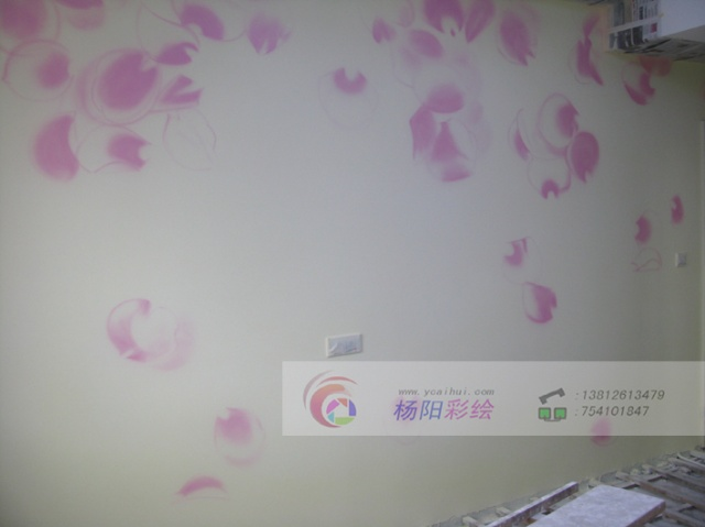 苏州手绘背景墙-吴江墙绘作品-花瓣雨