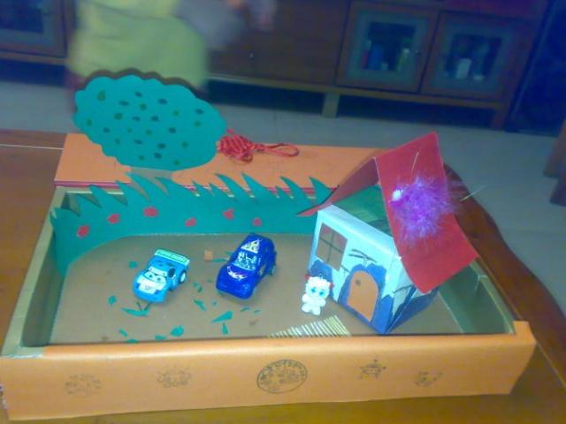 儿童手工卡纸房子