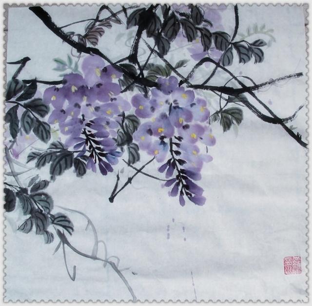 紫藤挂云木,花蔓宜阳春,密叶隐歌鸟,香风流美人.图片