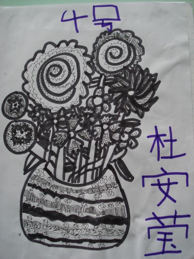 兰花花瓶手绘线描画