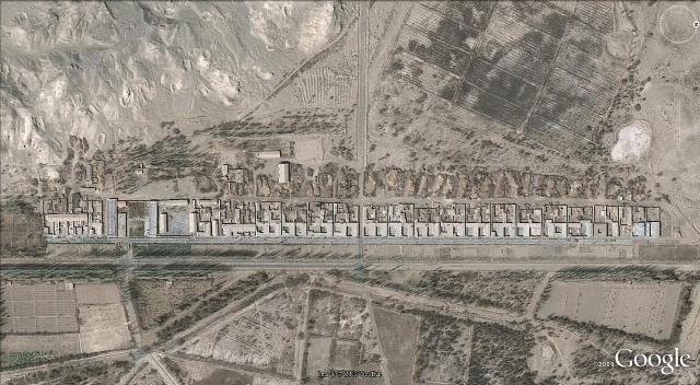 卫星地图下的夹边沟,如今是长城