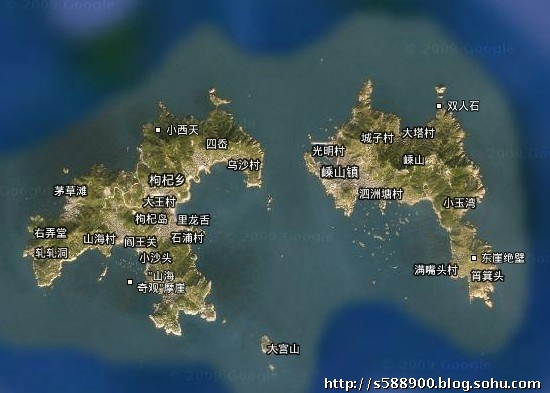 枸杞岛,嵊山岛卫星地图